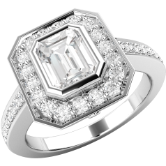 Art Deco Style Ring for Women in platinum with an emerald cut diamond centre in a rub-over setting, and round brilliant cut diamonds in a claw setting surrounding it