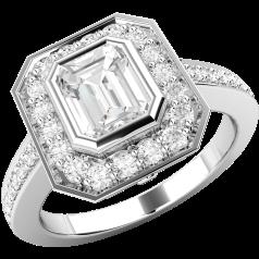 Inel de Logodna Solitaire cu Diamante Mici pe Lateral Dama Aur Alb 18kt cu Diamant Forma Smarald in Centru si Diamante Mici Rotunde Imprejur