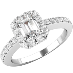 Art Deco Style Ring for Women in platinum with an emerald cut centre diamond and round brilliant cut diamonds surrounding it, all in a claw setting