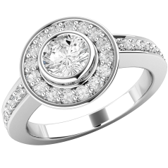Art Deco Style Ring/Diamond Cluster Engagement Ring for Women in platinum with a round brilliant cut centre diamond in a rub-over setting, and round brilliant diamonds in claw setting surrounding it