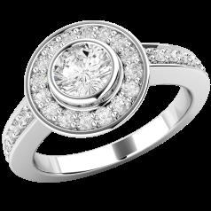 Inel de Logodna Cluster cu Mai Multe Diamante Dama Aur Alb 18kt cu un Diamant Central Rotund Briliant in Setare Rub-Over si Diamante Mici pe Margini
