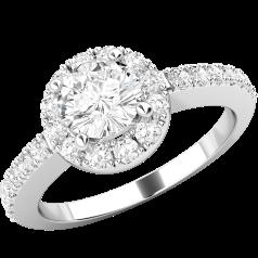 Inel Cocktail/ Inel de Logodna cu Diamante Dama Aur Alb 18kt cu un Diamant Rotund Briliant in Centru si Diamante Mici Rotund Briliant pe Margini