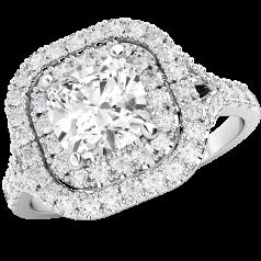 RD588PL - Platin Halo-Stil Ring mit einem Kissenschliff Diamanten in der Mitte umgeben von kleinen runden Brillantschliff Diamanten