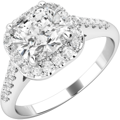 Art Deco Style Ring/Diamond Cluster Engagement Ring for Women in platinum with a cushion cut centre stone surrounded by small round brilliant cut diamonds all in a claw setting