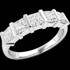 Inel Semi Eternity Dama Aur Alb, 18kt cu 5 Diamante Princess in Setare cu Bara