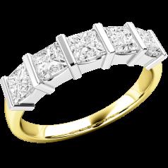 Halb Eternity Ring für Dame in 18kt Gelbgold und Weißgold mit 5 Princess Schliff Diamanten in Balkenfassung