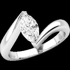Solitär Verlobungsring für Dame in 18kt Weißgold mit Marquise Schliff Diamanten, Twist Stil