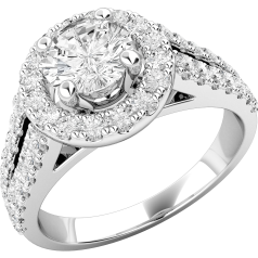 Art Deco Style Ring/Diamond Cluster Engagement Ring for Women in 18ct white gold with a round brilliant cut centre diamond and round brilliant cut diamonds surrounding it, all in a claw setting