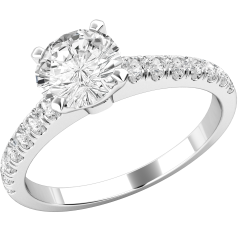 Inel de Logodna Solitaire cu Diamante Mici pe Lateral Dama Aur Alb 18kt cu un Diamant Rotund Briliant In centru si Diamante Rotund Briliant Mici pe Lateral in Stoc