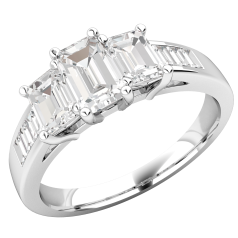 Three Stone Engagement Ring with Shoulders For Women in 18ct White Gold with 3 Emerald Cut Centre Diamonds in Claw Setting and Baguette Cut Shoulder-Diamonds in Channel Setting