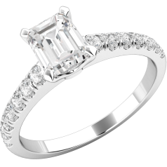RD605PL-Inel de Logodna Solitaire cu Diamante Mici pe Lateral Dama Platinum 950 cu Diamant Central Forma Smarald si Diamante Rotund Briliant Mici