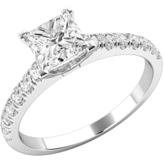 Single Stone Engagement Ring With Shoulders for Women in Palladium with a Princess Cut Diamond Centre and Small Round Brilliant Cut Diamond Shoulders