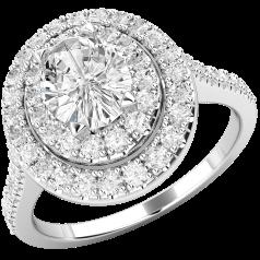 Inel Cocktail/Inel de Logodna cu Diamante Dama Aur Alb 18kt cu Diamant Central Oval si Diamante Mici Rotund Briliant pe Margini