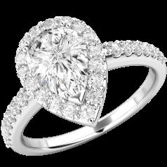 Inel Cocktail/Inel de Logodna cu Diamante Dama Aur Alb 18kt cu Diamant Central Forma Para si Diamante Mici pe Margini