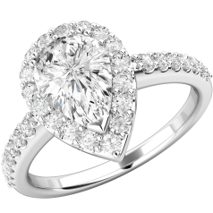 RD620W,Inel Cocktail/Inel de Logodna cu Diamante Dama Aur Alb 18kt cu Diamant Central Forma Para si Diamante Mici pe Margini