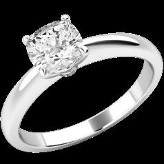 Inel de Logodna Solitaire Dama Platina cu un Diamant Cushion in Setare cu 4 Gheare