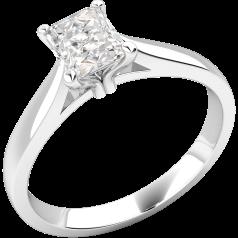 Inel de Logodna Solitaire Dama Aur Alb 18kt cu un Diamant Radiant in Setare 4 Gheare