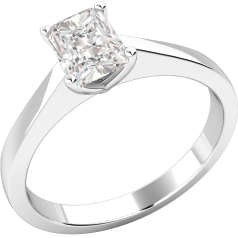 Single Stone Engagement Ring for Women in Platinum with a Radiant Diamond in a 4-Claw Setting