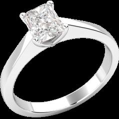 Inel de Logodna Solitaire Dama Aur Alb 18kt cu Diamant Radiant Setat cu Gheare