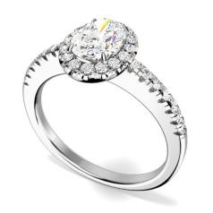 Inel Cocktail/ Inel de Logodna cu Diamante Dama Aur Alb 18kt cu un Diamant Oval si Diamante Rotunde Briliant