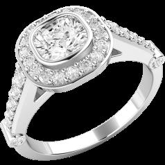 Inel de logodna cu Diamante Dama Aur Alb 18kt cu Diamant Cushion Inconjurat de Diamante Mici Rotund Briliant