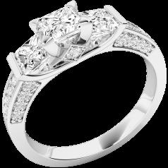 Trilogie Ring für Dame in 18kt Weißgold mit 3 Princess Schliff Diamanten und Schultern mit runden Brillantschliff Diamanten