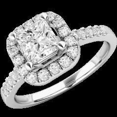 Inel Cocktail/Inel de Logodna cu Diamante Dama Aur Alb 18kt cu Diamant Central Forma Princess si Diamante Mici pe Margini