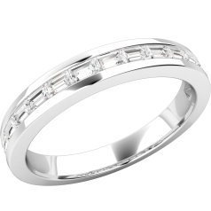 Inel Semi Eternity Dama Aur Alb 18kt cu 15 Diamante Forma Bagheta in Setare Canal