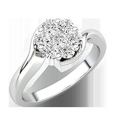 Inel de Logodna Cluster cu Mai Multe Diamante Dama Aur Alb 18kt cu Diamante Rotunde