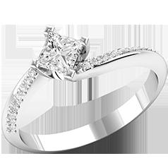 Inel de Logodna Solitaire cu Diamante Mici pe Lateral Dama Aur Alb 18kt cu Diamant Central Princess in Montura Rasucita