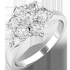 Inel Cluster cu Mai Multe Diamante Dama Aur Alb 18kt cu Diamante Rotund Briliant in Setare Gheare