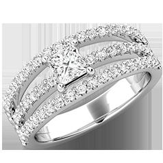 Inel de Logodna cu Diamante Dama Aur Alb 18kt cu un Diamant Central Princess si Diamante Rotund Briliant pe Lateral