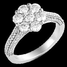 Inel Cluster cu Mai Multe Diamante Dama Platina 950 cu Diamante Rotund Briliant Setate cu Gheare si Diamante Mici Laterale.