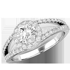 RD667W1 - Inel de logodna cu Diamante Dama Aur Alb 18kt cu Briliante Rotunde in Stoc