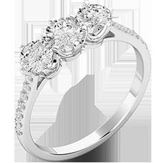 Inel de Logodna cu 3 Diamante Dama Aur Alb 18kt, cu 3 Diamante Taietura Rotunda Briliant in Centru si Diamante Mici pe Lateral