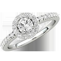 Inel de Logodna cu Diamante Dama Aur Alb 18kt cu Diamante Rotunde Briliant, Stil Halo si Diamante Laterale
