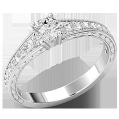 Inel de Logodna Solitaire cu Diamante Mici pe Lateral Dama Aur Alb 18kt cu un Briliant Rotund Central si Diamante Laterale Stralucitoare