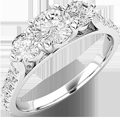 Inel de Logodna cu 3 Diamante Dama Aur Alb 18kt, cu 3 Diamante Rotund Briliant in Partea Centrala si Diamante Mici Rotund Briliant pe Lateral