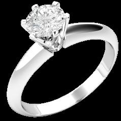 Solitär Verlobungsring für Dame in 18kt Weißgold mit rundem Brillanten in 6er Krappenfassung