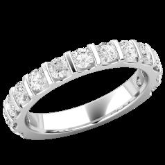 Verigheta cu Diamant/ Inel Eternity Dama Aur Alb 18kt cu Diamante Mici Rotund Briliant in Setare Bara