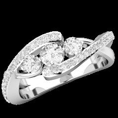 Inel de Logodna cu 3 Diamante Dama Aur Alb 18kt, cu 3 Diamante Taietura Rotunda Briliant si Diamante Mici pe Margini