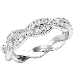 Inel Eternity/ Verigheta cu Diamant Dama Aur Alb 18kt cu Briliante Rotunde si Design Impletit