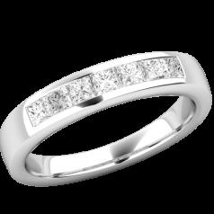 RD734W-Inel Semi Eternity Dama Aur Alb, 18kt cu 7 Diamante Princess in Setare Canal,un Inel Glamour si Elegant