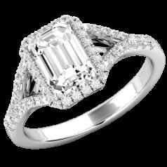 RD737W-Inel de Logodna cu Diamante Dama Aur Alb 18kt cu un Diamant Central Forma Smarald si Diamante Rotunde Briliant Imprejur,Design Clasic si Elegntă Pură