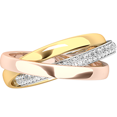 Verigheta cu Diamant Dama Aur Alb, Galben si Roz de18kt, Stil Russian, Format din 3 Verighete Interconectate si Diamante Mici Rotund Briliant