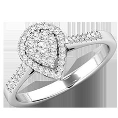 Inel Cluster cu Mai Multe Diamante Dama Aur Alb 18kt cu Diamante Mici Formand o Para si Diamante Mici pe Lateral