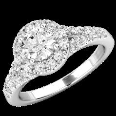 Inel Cocktail/ Inel de Logodna cu Diamante Dama Aur Alb 18kt cu un Briliant Rotund Central si Diamante Laterale, Stil Halo