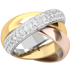 Verigheta cu Diamant Dama Aur Alb, Galben si Roz de18kt, Stil Russian, Format din 3 Verighete Interconectate si Diamante Mici Rotund Briliant, Latime 5mm