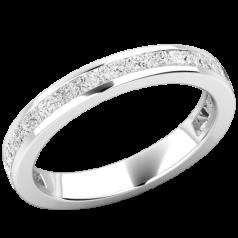 Verigheta cu Diamant/inel Eternity Dama Aur Alb, 18kt cu 28 Diamante Princess in Setare Canal