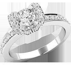 Inel de Logodna cu Diamante Dama Aur Alb 18kt cu un Diamant Rotund Briliant in Centru si Diamante Rotunde pe Margini